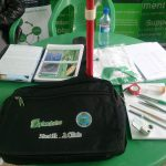 Factsheets and other plant doctor equipment displayed at the Plantwise booth