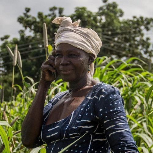 A farmer using a mobile phone